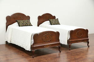 Pair Twin Or Single 1930 S Vintage Beds Walnut Burl Hand Painting 29823