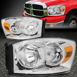 For 06 09 Dodge Ram 1500 2500 3500 Chrome Housing Amber Corner Headlight Lamps