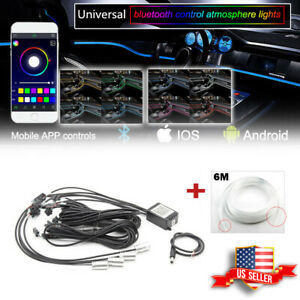 Rgb Multi Color Led Car Interior Strips Bluetooth App Control Atmosphere Light