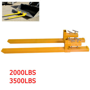 Clamp On Pallet Forks Heavy Attachments Loader Bucket Skidsteer Tractor 3500lbs