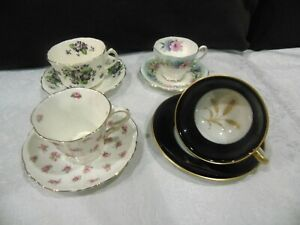 Vintage Lot Of 4 Tea Party Mixed Brand Cups And Saucers