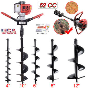 2 Stroke 52cc Power Earth Machine Post Hole Digger For 4 6 8 10 Drill Bit
