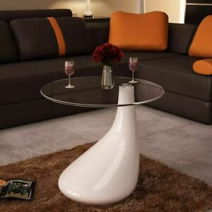 Modern Coffee Table W Round Glass Top High Gloss Drop White Side Dinner Office