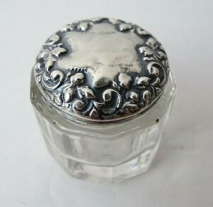 Victorian Sterling Silver Repousse Lid Crystal Small Dresser Vanity Jar Box