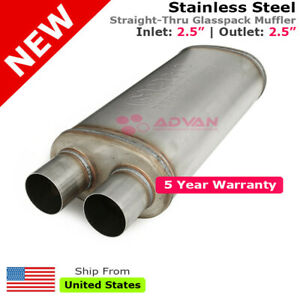 2 5 In Offset Inlet Double Outlets Stainless Steel Universal Muffler 256293