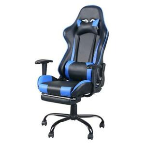 Executive Gaming Chair With Footrest Racing Office Chair Blue
