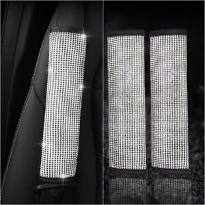 2 Car Accessories Bling Rhinestone Seat Belt Shoulder Protect Pad Cover Cushion