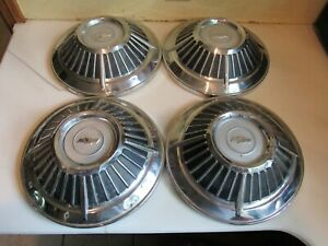 Vintage Set Of 4 1963 Chevy Impala Dog Dish Hubcaps 10 5 8