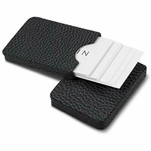 Business Card Holders Lucrin Sliding Case For Cards Black Granulated Leather