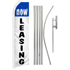 Now Leasing Swooper Advertising Feather Flutter Flag Pole Kit Blue white