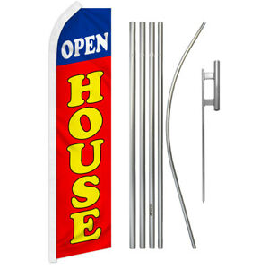 Open House Swooper Advertising Feather Flutter Flag Pole Kit Red blue Property