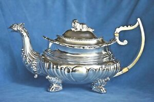 Antique George Iii Sterling Silver Retriever Spaniel Dog Griffin Spout Teapot