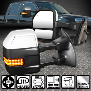 For 99 07 Ford F250 Super Duty Pair Power Heated Led Turn Signal Towing Mirror
