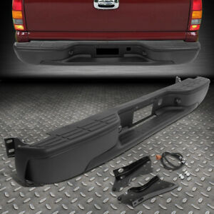 For 99 07 Silverado Sierra 1500 2500 Stainless Rear Step Bumper Face Bar Black