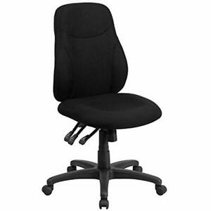 Home Office Desk Chairs Flash Furniture Mid back Black Fabric Multifunction Task