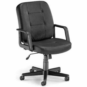 Home Office Desk Chairs Ofm Lo back Executive Leather Low Ergonomic Chair Black