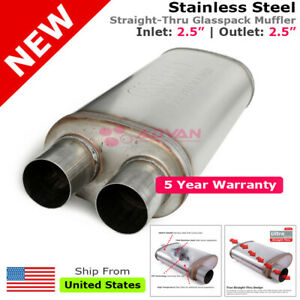 Highflow Straight Thru Universal Muffler 2 5in Inlet Dual Offset Outlets 256566