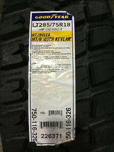 4 New Lt 285 75 18 Lre 10 Ply Goodyear Wrangler Mt R With Kevlar Mud Tires