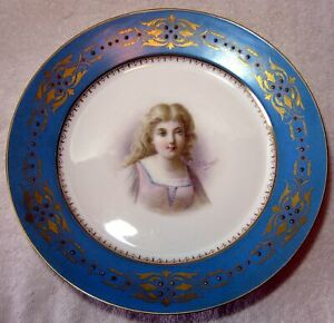Antique French Sevres Type Porcelain Hand Painted Signed Portrait Cabinet Plate