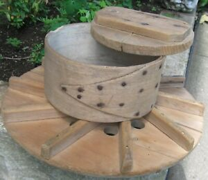Antique Wooden Cheese Drain Board Mold Press W Fingerlap Band Rose Head Nails
