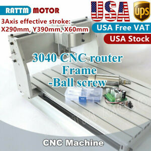 us 3 Axis 300w 3040 Cnc Router Engraving Mill Drilling Frame Machine 52mm Clamp