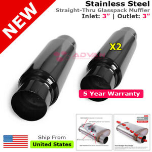 Pair Of Stainless Steel Universal Exhaust Mufflers 3 Inch Inlet Outlet 256781