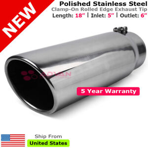 Stainless Truck Angled Polished 18 Inch Bolt On Exhaust Tip 5 In 6 Out 202507