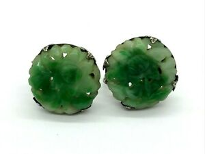 Antique Chinese Export Silver Carved Green Jade Jadeite Earrings Ts