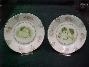 Pair Victorian Plates Affectionate Little Girls Doll Kissing Z S