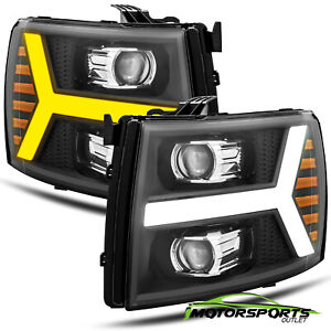 Fit 2007 2013 Chevy Silverado Black Projector Headlights W Led Drl Signal Light