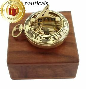 Brass Nautical Compass Push Button 2 Sundial Magnetic Compass With Wooden Box