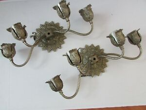Pair Of Antiqued Wall Sconces Neoclassical 4 Light Cast Metal Leaves Union Made