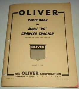Oliver Dg Crawler Tractor Parts Catalog Book Original Jan 1953 Dealers