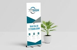 Trade Show Double Foot Aluminum 33 x81 Retractable Banner Stand With Graphic