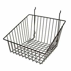 Econoco s Black Sloped front Metal Wire Basket For Slatwall Pegboard Or