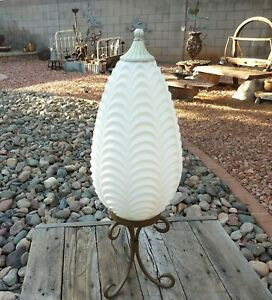Vintage Mid Century Modern White Draped Art Glass Hanging Swag Light Shade Mcm