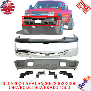 Front Bumper Chrome Steel Kit For 2003 2006 Avalanche Chevy Silverado 1500