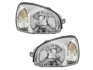 Headlight Replacement Set For 2001 2003 Santa Fe Suv Driver Passenger Pair