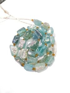 Ancient Roman Glass Old Square Beads 18th Century Necklace Afghanistan Jewelry