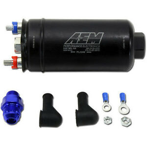 Aem High Pressure Flow In line Fuel Pump 380lph 10 An Female Inlet 6 An Outlet