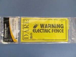 Dare Electric Fence Warning Signs Package Of 3 Signs Yellow Plastic 1614 New
