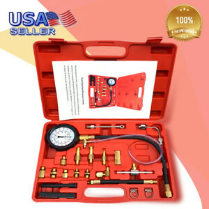 140 Psi Gasoline Fuel Injection Pump Pressure Gauge Tester Test Tool Kit Case
