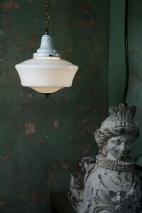 Early 20th Century Butchers Extra Large Opaline Enamel Pendant Light Antique
