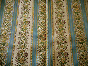 Vintage French Floral Lisere Brocade Jacquard Fabric Blue Lavender Yellow Gold