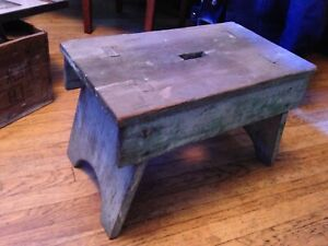 Antique Primitive Painted Wood Stool Sitting Bench Milking Stool