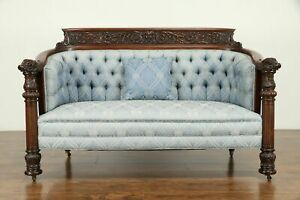 Mahogany Antique Loveseat Or Sofa Carved Dolphin Angel Heads Karpen 31365