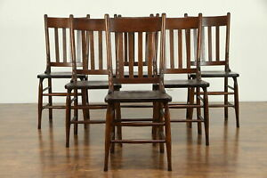 Set Of 6 Antique 1900 Solid Oak Dining Chairs 31366