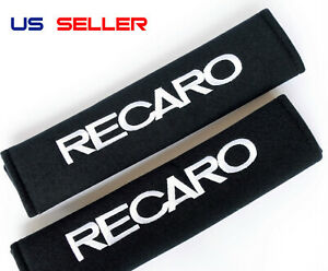 2x Recaro Racing Soft Cotton Embroidery Seat Belt Cover Shoulder Cushion Pads