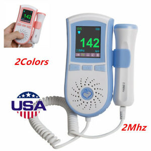 Color Lcd Pocket Fetal Doppler Prenatal Heart Baby Monitor 3mhz Dual Interface