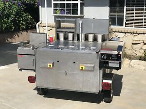 Deluxe Food Cart W fryer Griddle And More